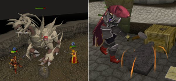 runescape boss battle and smithing