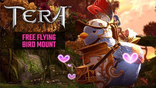 TERA mmorpg free gift pack flying bird mount