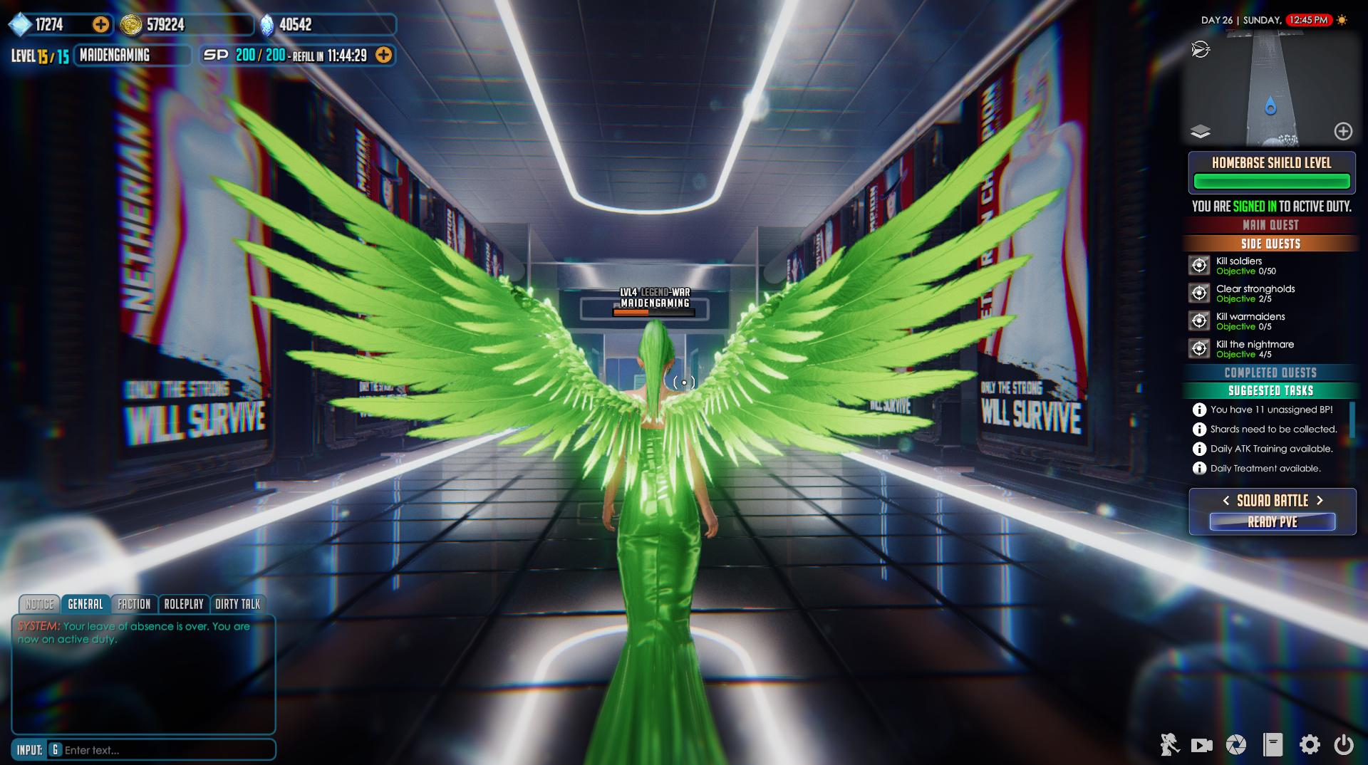 League of Maidens green wings