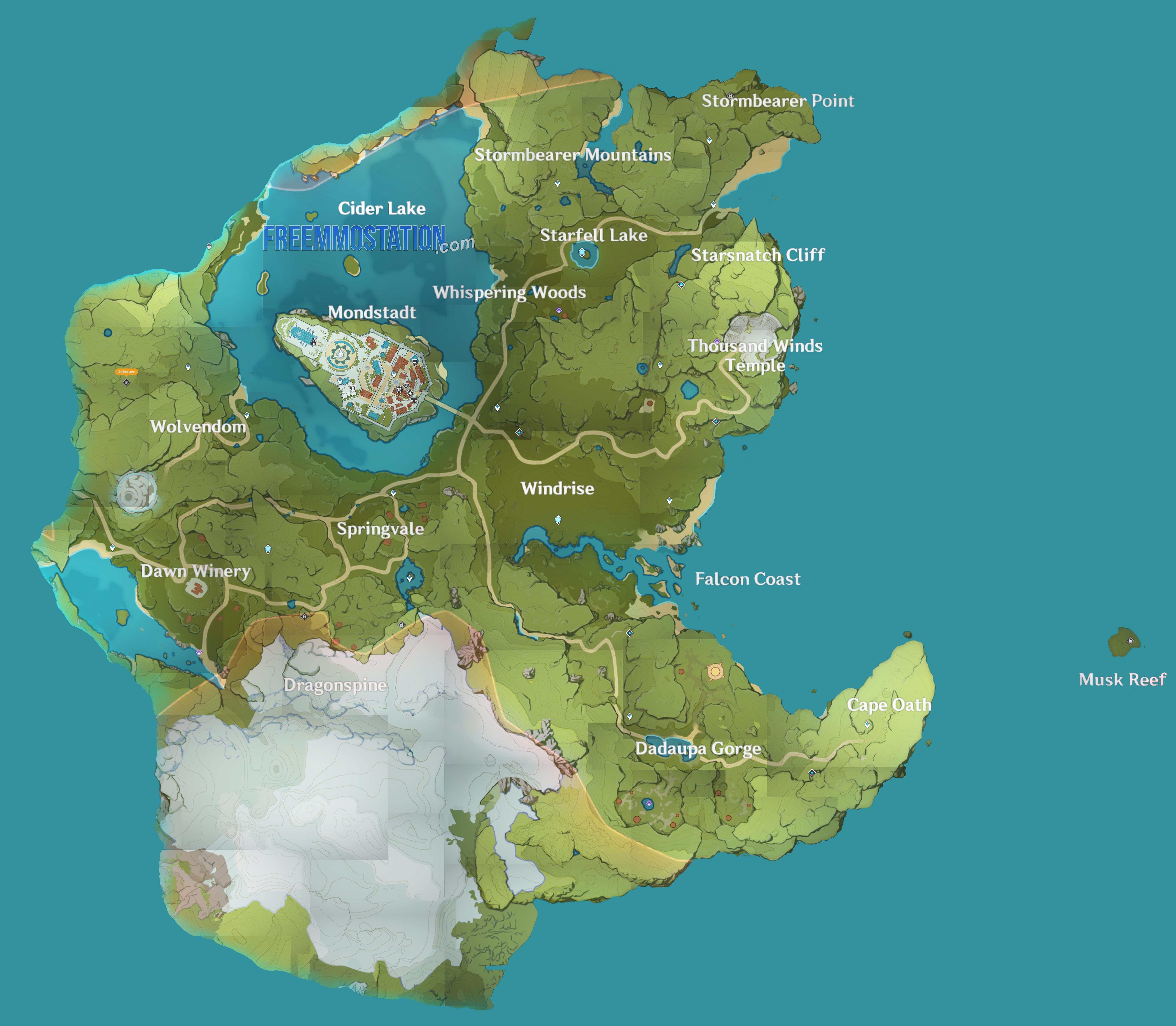 Genshin Impact Mondstadt Map
