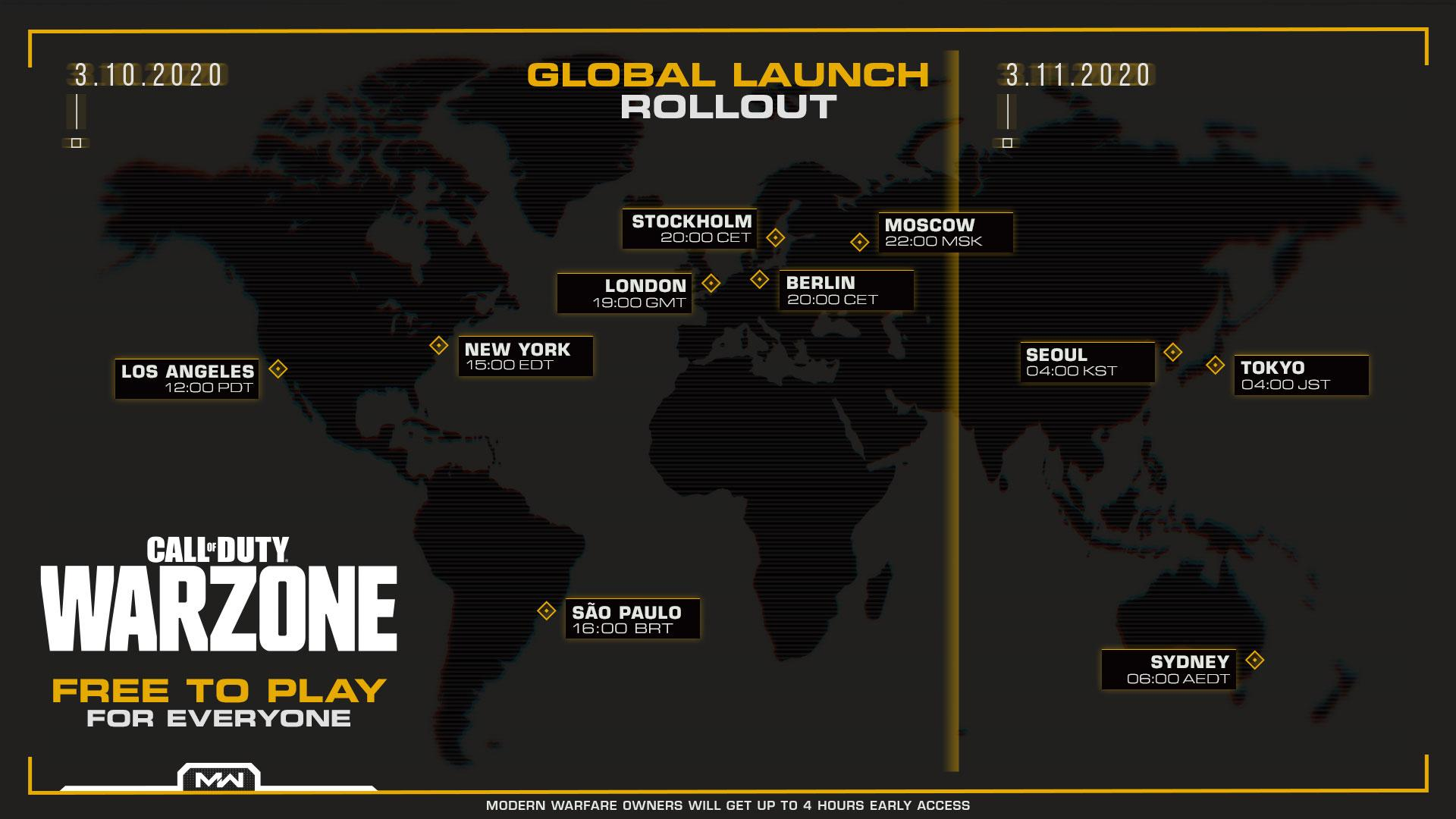 Warzone Release Date Times