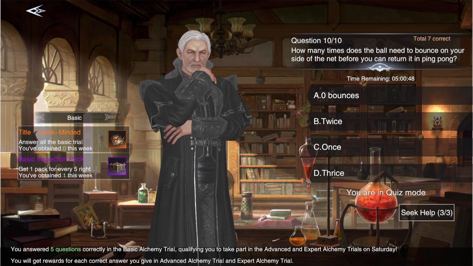 Forsaken World: Gods and Demons Basic Alchemy Trial Quiz Guide Answers