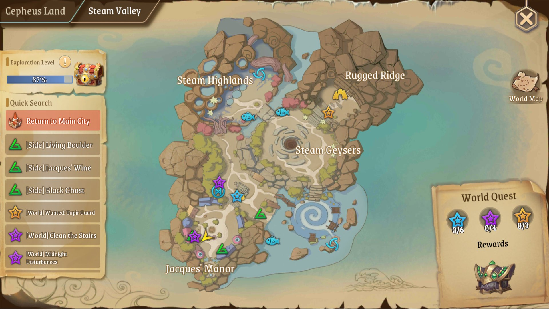 Stella Arcana Treasure Map Guide | Treasure Map (L) 1: Steam Valley bottom left in front of the Cute Little Statue of Tim