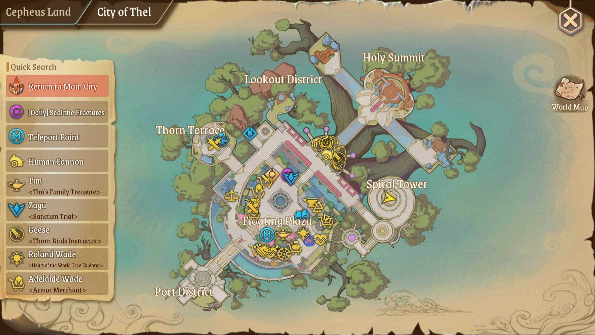 Treasure Map (L) 5: City of Thel right area top of Spiral Tower