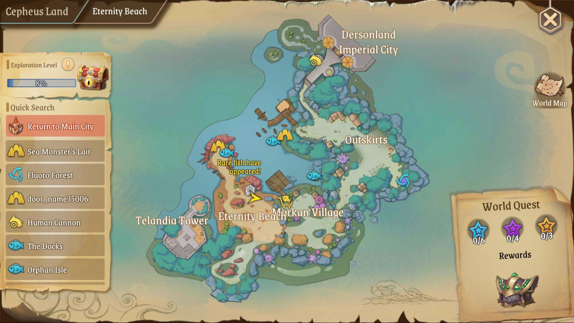 Treasure Map (L) 8: Eternity Beach near the stone statue