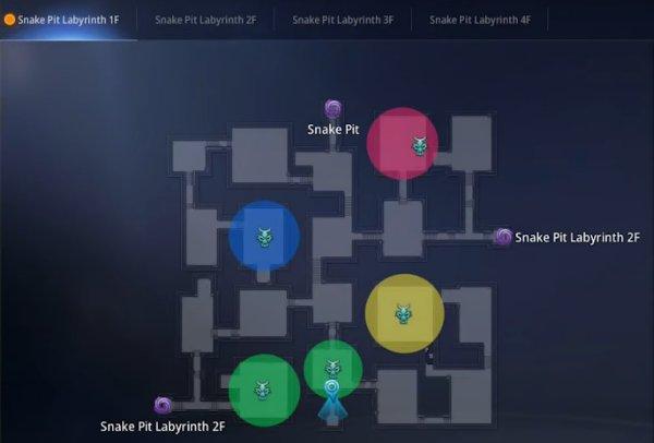 Mir 4 Bull Fiend Woman Snake Pit Labyrinth 1F map